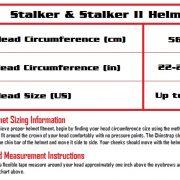 Stalker and Stalker II Size Chart